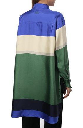 Женская шелковая рубашка LOEWE разноцветного цвета, арт. S359337XE8 | Фото 4 (Материал внешний: Шелк; Рукава: Длинные; Женское Кросс-КТ: Рубашка-одежда; Принт: С принтом; Длина (для топов): Удлиненные)