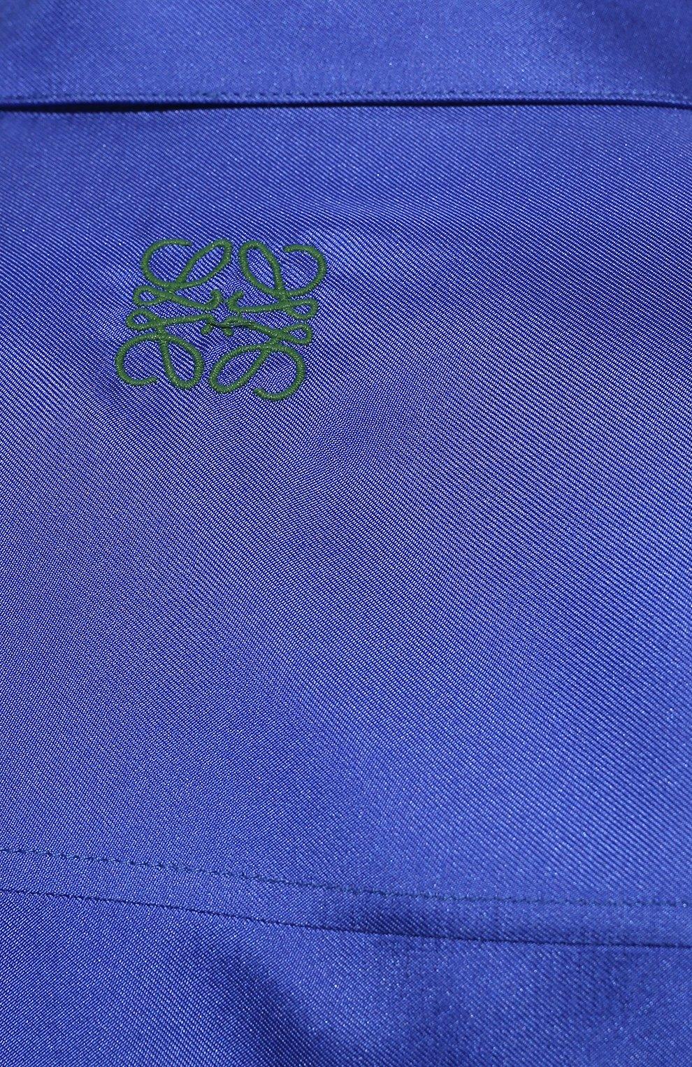 Женская шелковая рубашка LOEWE разноцветного цвета, арт. S359337XE8 | Фото 5 (Материал внешний: Шелк; Рукава: Длинные; Женское Кросс-КТ: Рубашка-одежда; Принт: С принтом; Длина (для топов): Удлиненные)