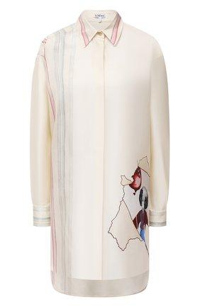 Женская шелковая рубашка LOEWE кремвого цвета, арт. S359337XDY | Фото 1 (Материал внешний: Шелк; Рукава: Длинные; Женское Кросс-КТ: Рубашка-одежда; Стили: Романтичный; Принт: С принтом; Длина (для топов): Удлиненные)