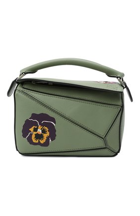 Женская сумка puzzle mini LOEWE зеленого цвета, арт. A510U95X35 | Фото 1 (Ремень/цепочка: На ремешке; Сумки-технические: Сумки top-handle, Сумки через плечо; Размер: mini; Материал: Натуральная кожа)