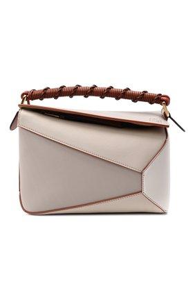 Женская сумка puzzle edge small LOEWE кремвого цвета, арт. A510P60X02 | Фото 1 (Сумки-технические: Сумки через плечо, Сумки top-handle; Ремень/цепочка: На ремешке; Материал: Натуральная кожа; Размер: small)