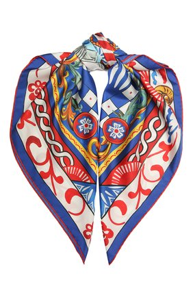 Женский шелковый платок DOLCE & GABBANA синего цвета, арт. FN086R/FI1T1 | Фото 1