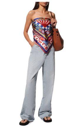 Женский шелковый платок DOLCE & GABBANA синего цвета, арт. FN086R/FI1T1 | Фото 2