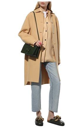 Женские кожаные сабо chain JW ANDERSON хаки цвета, арт. AN35004A/14000 | Фото 2