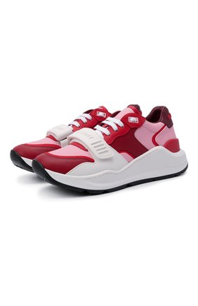 Женские комбинированные кроссовки ramsey BURBERRY красного цвета, арт. 8042197 | Фото 1 (Материал внутренний: Натуральная кожа; Материал внешний: Текстиль; Подошва: Платформа)