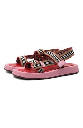 Женские комбинированные сандалии eve web BURBERRY розового цвета, арт. 8042675 | Фото 1