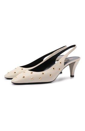 Женские кожаные туфли carole SAINT LAURENT кремвого цвета, арт. 658168/2V7KK | Фото 1 (Каблук тип: Устойчивый; Каблук высота: Средний; Материал внутренний: Натуральная кожа; Подошва: Плоская)
