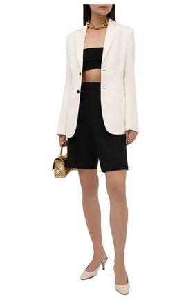 Женские кожаные туфли carole SAINT LAURENT кремвого цвета, арт. 658168/2V7KK | Фото 2 (Каблук тип: Устойчивый; Каблук высота: Средний; Материал внутренний: Натуральная кожа; Подошва: Плоская)