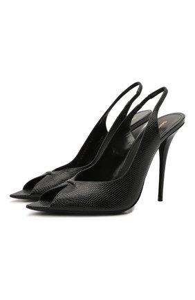 Женские кожаные босоножки lola SAINT LAURENT черного цвета, арт. 661021/2Y900 | Фото 1 (Материал внутренний: Натуральная кожа; Подошва: Плоская; Каблук высота: Высокий; Каблук тип: Шпилька)