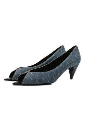 Женские текстильные туфли lola SAINT LAURENT синего цвета, арт. 661669/2WP10 | Фото 1 (Подошва: Плоская; Материал внутренний: Натуральная кожа; Каблук высота: Средний; Материал внешний: Текстиль; Каблук тип: Фигурный)