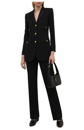 Женские кожаные лоферы harald GUCCI черного цвета, арт. 658268/1W600 | Фото 2 (Каблук высота: Низкий; Материал внутренний: Натуральная кожа; Подошва: Плоская)