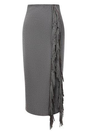 Женская шерстяная юбка BRUNELLO CUCINELLI темно-серого цвета, арт. MB034G3140 | Фото 1 (Материал подклада: Синтетический материал; Длина Ж (юбки, платья, шорты): Миди; Материал внешний: Шерсть; Стили: Кэжуэл; Женское Кросс-КТ: Юбка-одежда)