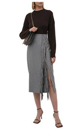 Женская шерстяная юбка BRUNELLO CUCINELLI темно-серого цвета, арт. MB034G3140 | Фото 2 (Материал подклада: Синтетический материал; Длина Ж (юбки, платья, шорты): Миди; Материал внешний: Шерсть; Стили: Кэжуэл; Женское Кросс-КТ: Юбка-одежда)