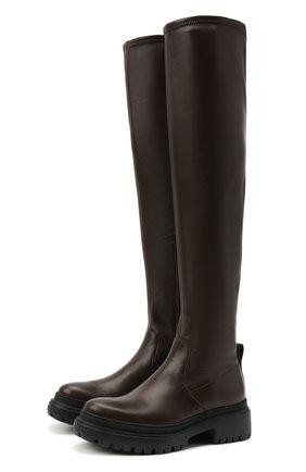 Женские кожаные ботфорты BRUNELLO CUCINELLI темно-коричневого цвета, арт. MZNSG2052 | Фото 1 (Подошва: Платформа; Каблук высота: Низкий; Материал внутренний: Натуральная кожа; Каблук тип: Устойчивый; Высота голенища: Высокие)