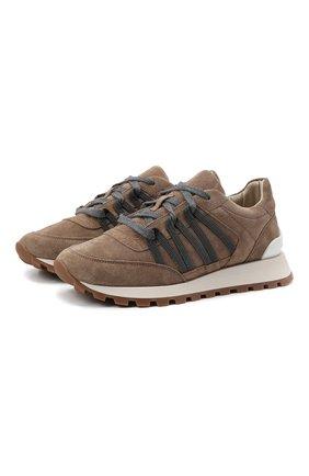 Женские замшевые кроссовки BRUNELLO CUCINELLI коричневого цвета, арт. MZSFG2021 | Фото 1 (Материал внутренний: Текстиль; Подошва: Платформа; Материал внешний: Замша)
