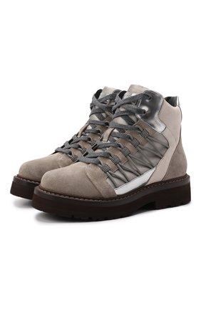 Женские замшевые ботинки BRUNELLO CUCINELLI серого цвета, арт. MZSFG2027 | Фото 1 (Каблук высота: Низкий; Подошва: Платформа; Материал внутренний: Натуральная кожа; Женское Кросс-КТ: Хайкеры-ботинки; Материал внешний: Замша)