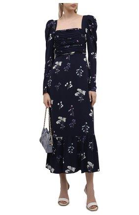 Женское платье из вискозы SELF-PORTRAIT темно-синего цвета, арт. PF21-085B | Фото 2