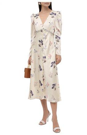 Женское платье из вискозы SELF-PORTRAIT кремвого цвета, арт. PF21-109 | Фото 2