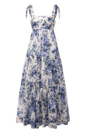 Женское хлопковое платье ZIMMERMANN синего цвета, арт. 9746DALI   Фото 1