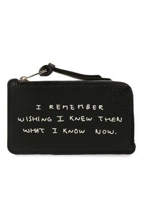 Женский кожаный футляр для кредитных карт LOEWE черного цвета, арт. C643Z40X13   Фото 1