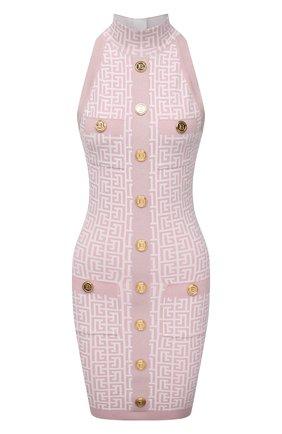 Женское платье BALMAIN светло-розового цвета, арт. WF1R3080/K272   Фото 1 (Длина Ж (юбки, платья, шорты): Мини; Случай: Повседневный; Женское Кросс-КТ: Платье-одежда; Стили: Гламурный; Материал внешний: Вискоза; Кросс-КТ: Трикотаж)