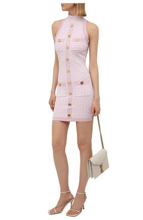 Женское платье BALMAIN светло-розового цвета, арт. WF1R3080/K272   Фото 2 (Длина Ж (юбки, платья, шорты): Мини; Случай: Повседневный; Женское Кросс-КТ: Платье-одежда; Стили: Гламурный; Материал внешний: Вискоза; Кросс-КТ: Трикотаж)
