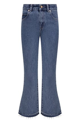 Женские джинсы REDVALENTINO голубого цвета, арт. WR3DD04K/62P | Фото 1 (Материал внешний: Хлопок; Стили: Спорт-шик; Силуэт Ж (брюки и джинсы): Расклешенные; Длина (брюки, джинсы): Укороченные; Кросс-КТ: Деним)