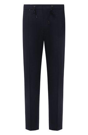 Мужские брюки из шерсти и вискозы BOSS темно-синего цвета, арт. 50458980 | Фото 1