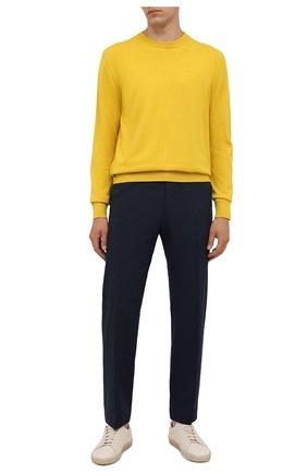 Мужские брюки из шерсти и вискозы BOSS темно-синего цвета, арт. 50458980 | Фото 2