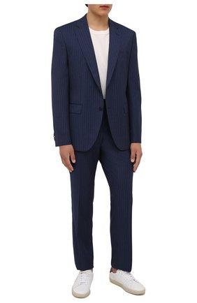 Мужской шерстяной костюм BOSS синего цвета, арт. 50459114 | Фото 1