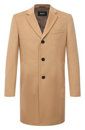 Мужской пальто из шерсти и кашемира BOSS бежевого цвета, арт. 50459022 | Фото 1 (Материал внешний: Шерсть; Мужское Кросс-КТ: пальто-верхняя одежда; Стили: Кэжуэл; Длина (верхняя одежда): До середины бедра; Рукава: Длинные)