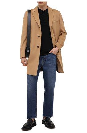 Мужской пальто из шерсти и кашемира BOSS бежевого цвета, арт. 50459022 | Фото 2 (Материал внешний: Шерсть; Мужское Кросс-КТ: пальто-верхняя одежда; Стили: Кэжуэл; Длина (верхняя одежда): До середины бедра; Рукава: Длинные)