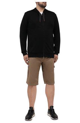Мужские хлопковые шорты PAUL&SHARK темно-бежевого цвета, арт. 21414003/E7A/62-64 | Фото 2 (Принт: Без принта; Материал внешний: Хлопок; Мужское Кросс-КТ: Шорты-одежда; Длина Шорты М: Ниже колена; Big sizes: Big Sizes; Стили: Кэжуэл)