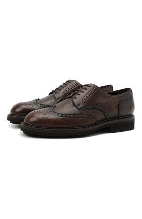 Мужские кожаные дерби CANALI коричневого цвета, арт. 221207/RF00566 | Фото 1 (Материал внутренний: Натуральная кожа; Стили: Классический; Мужское Кросс-КТ: Броги-обувь)