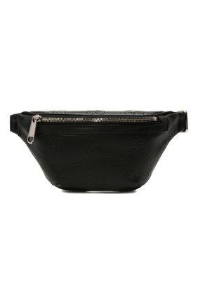 Мужская кожаная поясная сумка gg GUCCI черного цвета, арт. 658582/1W3CN | Фото 1 (Материал: Натуральная кожа)