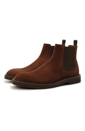 Мужские замшевые челси BRUNELLO CUCINELLI коричневого цвета, арт. MZUNETE818   Фото 1 (Материал внутренний: Натуральная кожа; Подошва: Плоская; Мужское Кросс-КТ: Челси-обувь, Сапоги-обувь; Материал внешний: Замша)