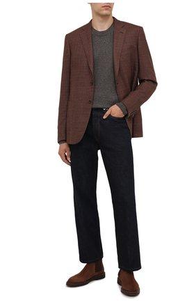 Мужские замшевые челси BRUNELLO CUCINELLI коричневого цвета, арт. MZUNETE818   Фото 2 (Материал внутренний: Натуральная кожа; Подошва: Плоская; Мужское Кросс-КТ: Челси-обувь, Сапоги-обувь; Материал внешний: Замша)