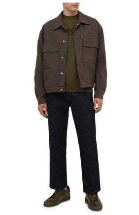 Мужские кожаные кеды SANTONI хаки цвета, арт. MBGT21554TGRRG0NV53 | Фото 2