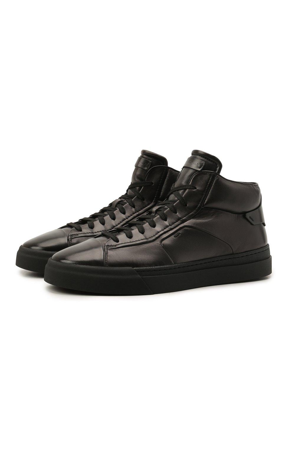 Мужские кожаные кеды SANTONI темно-серого цвета, арт. MBGT21556NE0RG0NG62   Фото 1 (Материал внутренний: Натуральная кожа; Подошва: Массивная)