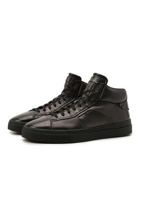 Мужские кожаные кеды SANTONI темно-серого цвета, арт. MBGT21556NE0RG0NG62 | Фото 1