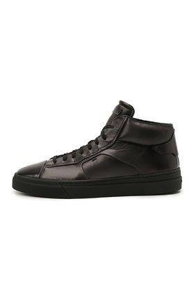 Мужские кожаные кеды SANTONI темно-серого цвета, арт. MBGT21556NE0RG0NG62   Фото 3 (Материал внутренний: Натуральная кожа; Подошва: Массивная)