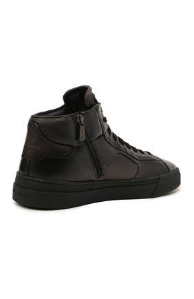 Мужские кожаные кеды SANTONI темно-серого цвета, арт. MBGT21556NE0RG0NG62   Фото 4 (Материал внутренний: Натуральная кожа; Подошва: Массивная)