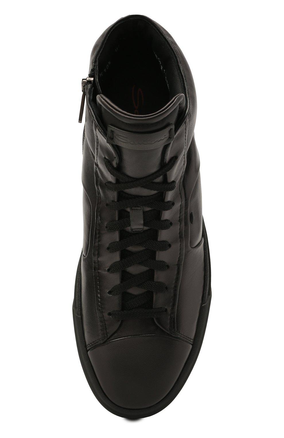 Мужские кожаные кеды SANTONI темно-серого цвета, арт. MBGT21556NE0RG0NG62   Фото 5 (Материал внутренний: Натуральная кожа; Подошва: Массивная)
