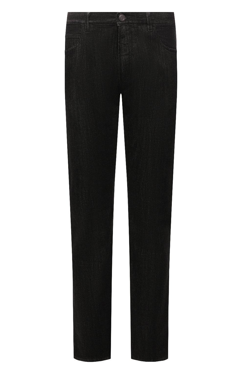 Мужские джинсы GIORGIO ARMANI черного цвета, арт. 6KSJ15/SD1AZ | Фото 1 (Силуэт М (брюки): Прямые; Кросс-КТ: Деним; Длина (брюки, джинсы): Стандартные; Материал внешний: Хлопок; Стили: Кэжуэл)