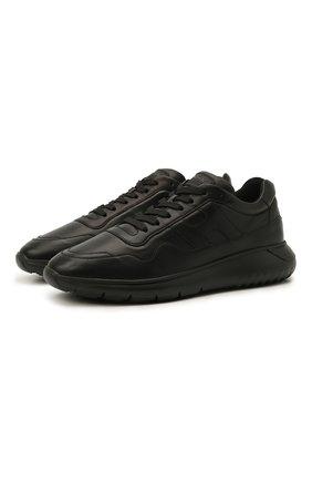 Мужские кожаные кроссовки HOGAN черного цвета, арт. HXM3710CP50LE9 | Фото 1