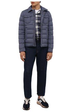 Мужская пуховая куртка HERNO синего цвета, арт. PI011ULE/19288 | Фото 2 (Материал внешний: Синтетический материал; Материал подклада: Синтетический материал; Рукава: Длинные; Длина (верхняя одежда): Короткие; Кросс-КТ: Куртка; Мужское Кросс-КТ: пуховик-короткий; Стили: Кэжуэл; Материал утеплителя: Пух и перо)