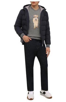 Мужской пуховый бомбер HERNO темно-синего цвета, арт. PI074UR/12409 | Фото 2 (Материал внешний: Синтетический материал; Материал подклада: Синтетический материал; Рукава: Длинные; Длина (верхняя одежда): Короткие; Кросс-КТ: Куртка; Мужское Кросс-КТ: пуховик-короткий; Принт: Без принта; Материал утеплителя: Пух и перо)