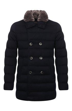 Мужская пуховик с меховой отделкой HERNO темно-синего цвета, арт. PI076UR/38017 | Фото 1 (Рукава: Длинные; Материал подклада: Синтетический материал; Материал внешний: Шерсть, Кашемир; Кросс-КТ: Куртка; Мужское Кросс-КТ: пуховик-короткий; Стили: Классический; Длина (верхняя одежда): До середины бедра; Материал утеплителя: Пух и перо)