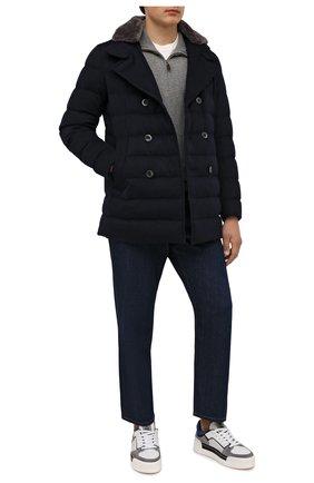 Мужская пуховик с меховой отделкой HERNO темно-синего цвета, арт. PI076UR/38017 | Фото 2 (Рукава: Длинные; Материал подклада: Синтетический материал; Материал внешний: Шерсть, Кашемир; Кросс-КТ: Куртка; Мужское Кросс-КТ: пуховик-короткий; Стили: Классический; Длина (верхняя одежда): До середины бедра; Материал утеплителя: Пух и перо)