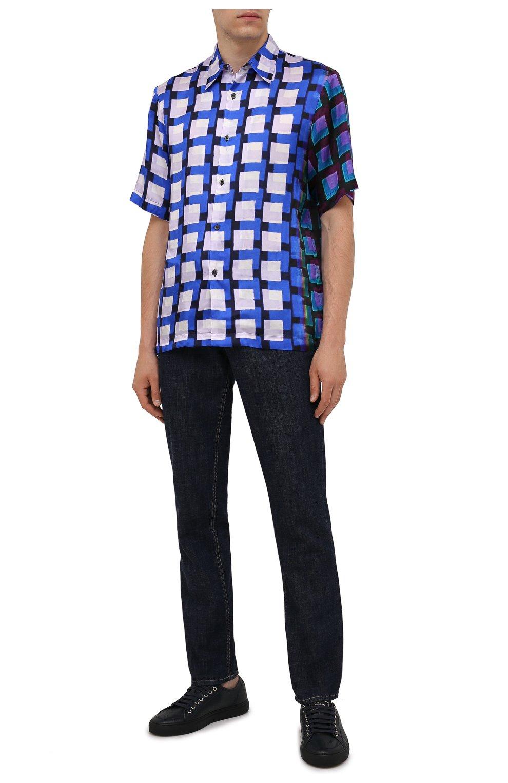 Мужские кожаные кеды BRIONI темно-синего цвета, арт. QHH40L/P7731   Фото 2 (Материал внутренний: Натуральная кожа; Подошва: Массивная)